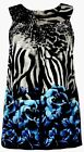 B4 Sexy Sleevelss Floral Animal Print Plus Size Blue Fashion Summer Tunic Blouse