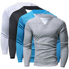Men's Slim Fit Long Sleeve V-Neck Tee Shirt Solid Casual Tops T-Shirts 4 Colors