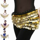 Belly Dance Hip Scarf Coins Thin Chiffon Waist Belt Chain Dancing Wrap 8 Colors