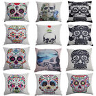 Square Linen Home Decor Cushion Cover Skull Pattern Throw Pillow Case Chic Art
