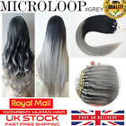 "16""-22"" Grey Ombre Double Drawn 1G REMY Micro Loop Bead Human Hair Extensions UK"