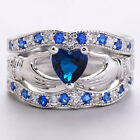 Silver Plated Sapphire Cletic Irish Claddagh Ring Wedding Set Promise Ring Hot