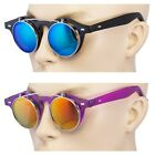 2 Pair Cool Flip Up Lens Steampunk Vintage Retro Round Sunglasses Blue Ocean Pur