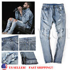 Men Ripped Destroyed Jeans Straight Frayed Denim Zipper Pants Biker Trousers