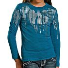 Rock & Roll Cowgirl Silver Foil T-Shirt - Long Sleeve (For Girls)