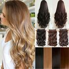 100% Real As Human Clip In Hair Extensions Curly Straight Brown Black Blonde NCS