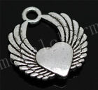 20/100pcs Lot Antique Silver Winged heart Jewelry Charms pendant 22x20mm A100M