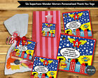 12X SUPERHERO WONDER WOMAN THANK YOU FAVOUR GIFT TAGS LABELS LOLLY BAG BIRTHDAY