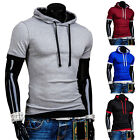 Fashion Men's Slim Fit Tees T-Shirts Casual Hooded Short Sleeve Tops Plus Size