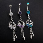 Navel Belly Glamour Button Ring Crystal Flower Carved Body Piercing Jewelry