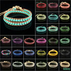 Handmade Multilayer Wrap Knitted Leather Bracelet Glass Crystal Gemstone Beads