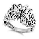 925 STERLING SILVER BUTTERFLY WITH PLUMERIA FLOWER DESIGN Ring