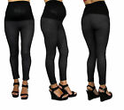 Black Leggings Soft Maternity Solid High Wasted Pregnancy Blouse Charcoal New