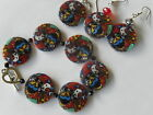 Dog Shell beads,round earrings Harlequin coloured dog, cute dogs, puppy,