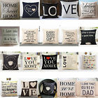 Words Printing Pillow Cover Cushion Case Toss Pillowcase Hidden Zipper Closure