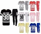 "Girls ""NEW YORK BROOKLYN 98"" Stripe Top & Legging Set Kids Outfit New 7-13 Years"