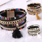 Women Leather Bracelet Rhinestone Bangle Charm Wristband Cuff Fashion Gift