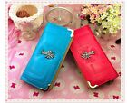 Ladies Gloss PU Leather Hot Pink/Blue Long Wallet Purse with Celtic style Cross