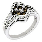 925 Sterling Silver Smoky Quartz and Diamond Round Cut Cluster Ring - 0.31cttw