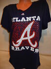 "7115 WOMENS ATLANTA BRAVES ""Team Logo"" Baseball Jersey Shirt NEW Blue BLOWOUT"