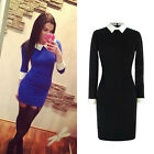 Spring Autumn Black Blue Peter Pan Collar Long Sleeve Slim Skinny Bodycon Dress