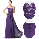 Purple Long Chiffon Bridesmaid Evening Formal Party Ball Gown Pageant Prom Dress
