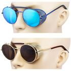 Gold Vintage Retro Steampunk Gothic Side Shield Hipster Round Sunglasses Blue Go
