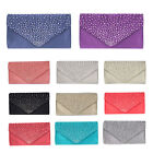Diamante New Ladies Satin Evening Clutch Envelope Bag Wedding Bridal Party Prom