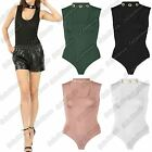 New Ladies Eyelet Embellished Choker Neck Sleeveless Plain Bodysuit Leotard Top