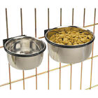 Bolt On Crate Bowl Coop Cup Clamp Cage Dog Dish Stainless Pet Bird