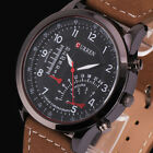 Classic Curren Men's Brown Leather Strap Quartz Analog Sport Army Wrist Watch