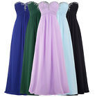Sexy Strapless Chiffon Wedding Bridesmaid Dresses Formal Evening Ball Long Prom