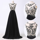 Applique Lace Sexy V-neck Long Party Formal Prom Black Evening Ball Gown Dress