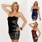 Sexy Ladies Sequence Dress Padded Strapless Evening Mini Dress Size 8,10,12