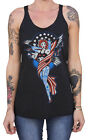 Women's Liberty by Adi Pin Up Girl & Eagle Tattoo Racerback Unfinished Tank Top