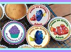 24 PERSONALISED NEMO AND DORY DESIGN  CUPCAKE TOPPER RICE, WAFER or ICING