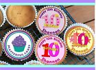 24 PERSONALISED 10th BIRTHDAY DESIGN 3 CUPCAKE TOPPER RICE, WAFER or ICING