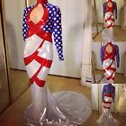 DRAG QUEEN MORGAN WELLS DESIGNS RED WHITE AND BLUE AMERICAN FLAG DRESS