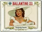METAL VINTAGE SHABBY-CHIC RETRO BALLANTINE BEER SIGN WALL PLAQUE / FRIDGE MAGNET