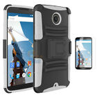 For Motorola Nexus 6 Google Hybrid Combo Rugged Stand Case Cover Holster Clip
