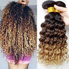 3pcs Ombre Remy Brazilian Deep Wave Curly Virgin Hair Weave Hair Extensions UK
