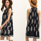 Fashionable Sleeveless hanging neck leaf Printed Women's Girl's Dresses black &1