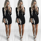 Fashion Womens Summer Long Sleeve Casual Blouse Loose Chiffon Tops T Shirt Dress