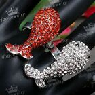 Full Crystal Silver Plated Dolphin Cocktail Party Finger Ring Charm Jewelry Gift