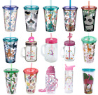 Kids Childrens Double Walled Drinking Cup with Straw Lid Travel Hot Cold Drinks