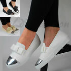 New Womens Casual Loafers Ballet Metallic Bow Flat Slip On Pumps Shoes Sizes 3-8