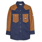 Men's Flame Resistant Two Toned Work Shirt Blue Denim-Brown Duck NFPA 2112