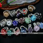 1x Crystal Glass Rhinestone Faceted Beads Knitted Flower Finger Ring Gift US 7