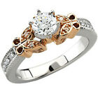 7/8ct Vintage Diamond Engagement Ring 14K Rose & White Gold