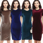 Women's Round Neck Short Sleeve Party Sheath Bodycon Pencil Velvet Dress Novelty